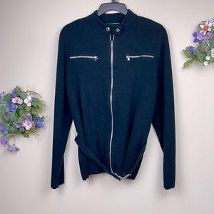 Ralph Lauren Women's Black Knitted Jacket Size XL